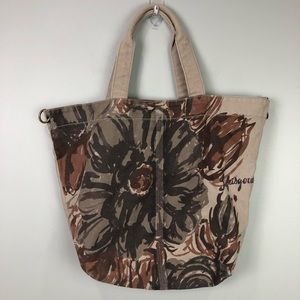 Life is Good Canvas Tote Bag Floral Brown